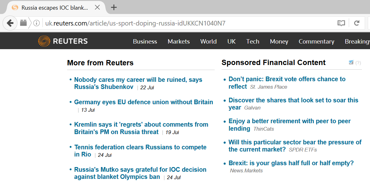 Dianomi on Reuters